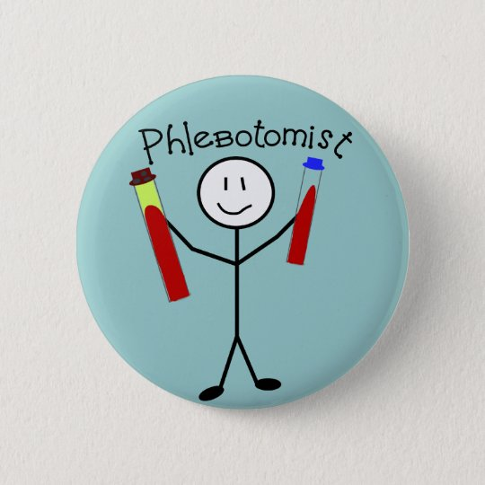 Phlebotomist Stick Person Button