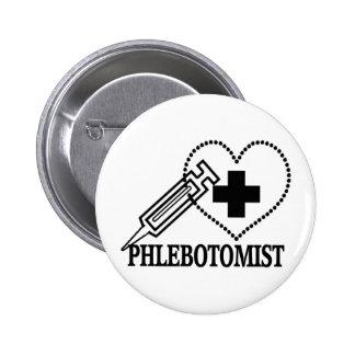 PHLEBOTOMIST - SYRINGE HEART MEDICAL PINBACK BUTTON