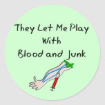 """Phlebotomist T-Shirts and Gifts """"Blood and Junk"""" Sticker"""