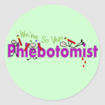 "Phlebotomist ""We're So Vein"" Stick People Round Stickers"