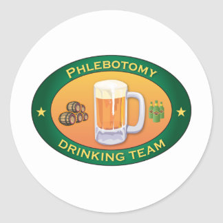 Phlebotomy Drinking Team Classic Round Sticker