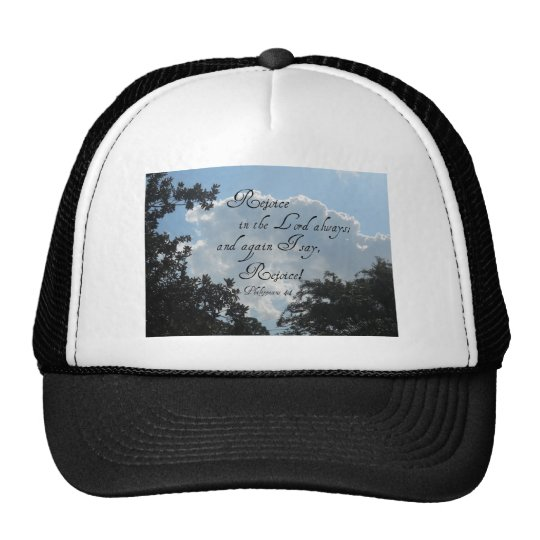 Phlippians 4:4 trucker hat