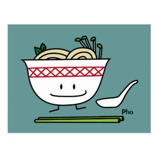 Pho Noodle Bowl Vietnam soup spoon chopsticks Postcard