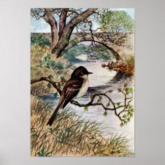 Phoebe and Stone Bridge Over Creek Print