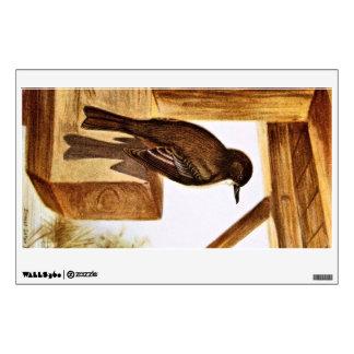 Phoebe Bird Illustration Wall Skin