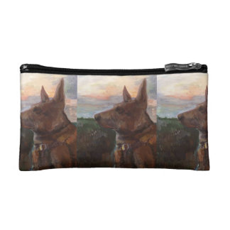 """Phoebe Dog in the Sunset"" painting cosmetic bag"