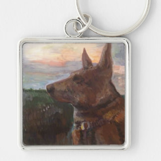"""""""Phoebe Dog in the Sunset"""" painting on Key Chain"""