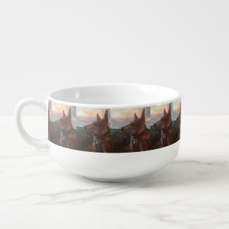 """Phoebe Dog in the Sunset"" painting Soup Mug"