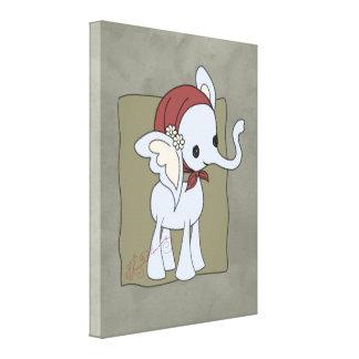 """""""Phoebe"""" el elefante lindo de la señora mayor Impresión En Tela"""