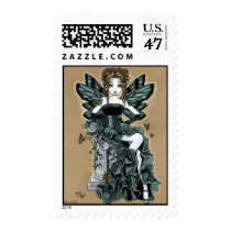 phoebe, fairy, faery, fae, monarch, faerie, gothic, couture, art, fantasy, tiger, lily, tattoo, myka, jelina, corset, ruffles, green, faeries, nymphs, sprites, Stamp with custom graphic design