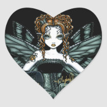 phoebe, fairy, faery, fae, faerie, gothic, couture, art, fantasy, tiger, lily, tattoo, myka, jelina, corset, ruffles, green, butterflies and moths, Sticker with custom graphic design