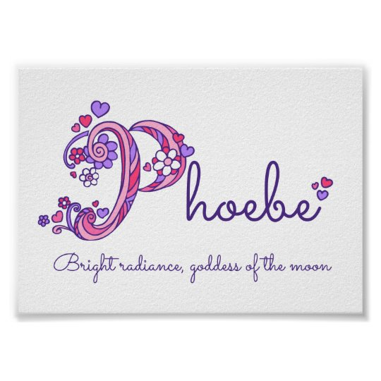 Phoebe initial P doodle heart art name meaning Poster ...