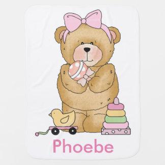 Phoebe's Teddy Bear Personalized Gift Stroller Blanket