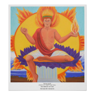 Phoebus Apollo - Seated on the Mystic Purple Lotus Poster