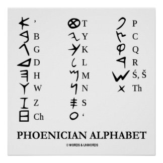 Phoenician Alphabet (Ancient Language Symbols) Poster