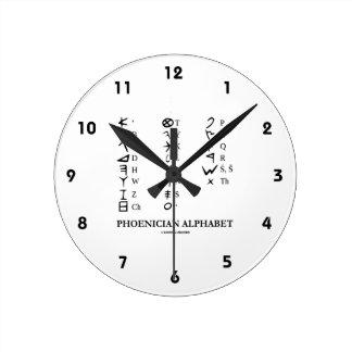 Phoenician Alphabet (Ancient Language Symbols) Round Clock