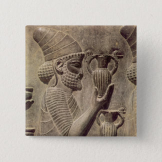 Phoenician carrying two offering, detail relief pinback button