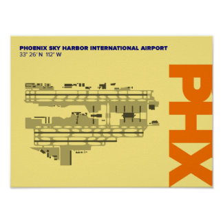 Phoenix Airport (PHX) Airport Diagram Poster