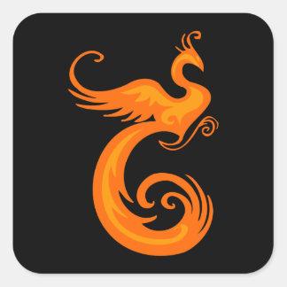 Phoenix anaranjada pegatinas cuadradas