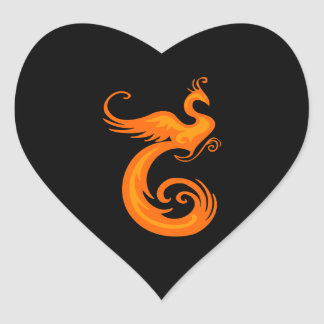 Phoenix anaranjada calcomanía de corazón personalizadas