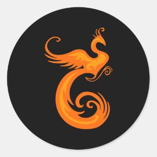 Phoenix anaranjada pegatina redonda