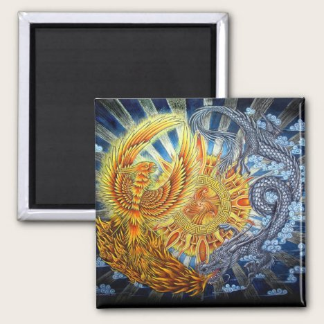 Phoenix and Dragon Mythical Creatures Magnet