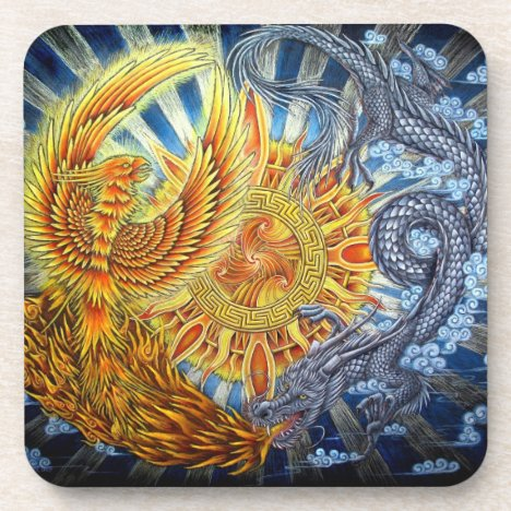 Phoenix and Dragon Plastic Coaster