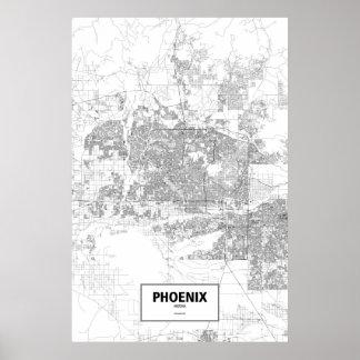 Phoenix, Arizona (black on white) Poster