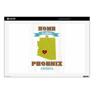 Phoenix, Arizona Map – Home Is Where The Heart Is Laptop Decals
