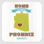 Phoenix, Arizona Map – Home Is Where The Heart Is Square Sticker