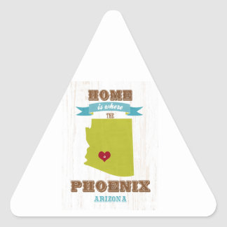 Phoenix, Arizona Map – Home Is Where The Heart Is Triangle Sticker