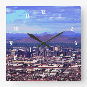 Phoenix, Arizona Skycape in Daytime Square Wall Clock
