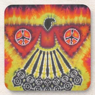 Phoenix Bird Peace Signs Tie Dye Coaster