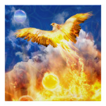 Phoenix Bird RISE ABOVE YOUR TROUBLES Poster