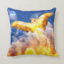 Phoenix Bird RISE ABOVE YOUR TROUBLES Throw Pillow