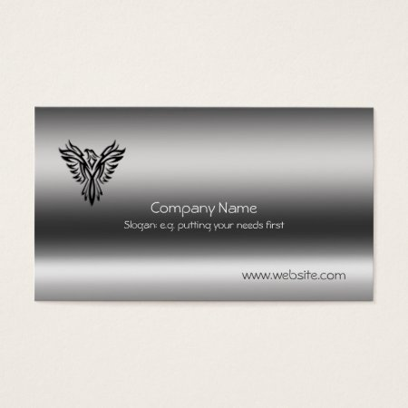 Phoenix, black on brushed steel effect business card