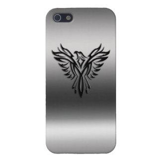 Phoenix, black on brushed steel effect iPhone 5 cover