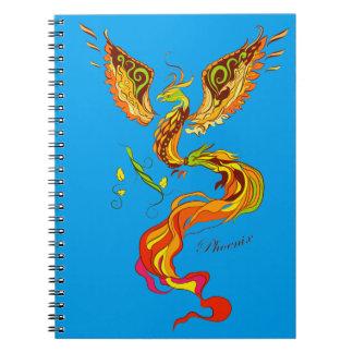 Phoenix bright flame illustration notebook