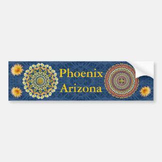 Phoenix Bumper Sticker with Barrel Cactus Mandalas