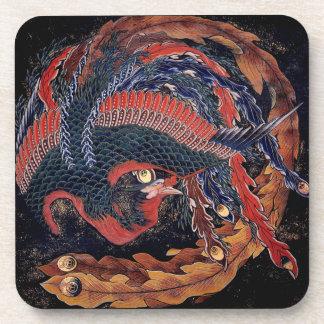 Phoenix by Hokusai - Cork Coaster