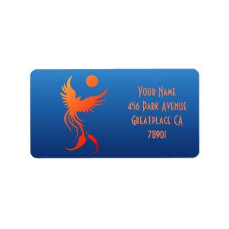 Phoenix de levantamiento en etiqueta de dirección