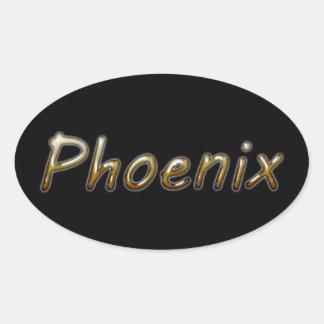 Phoenix - Desert Colors - on Black Oval Sticker