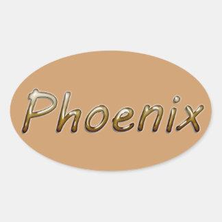Phoenix - Desert Colors - on Tan Oval Sticker