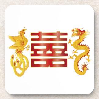 Phoenix Dragon Double Happiness Cork Coaster