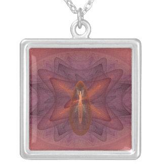 Phoenix Egg Abstract Art Square Pendant Necklace