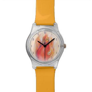 Phoenix en el arte del pastel de las llamas reloj de mano
