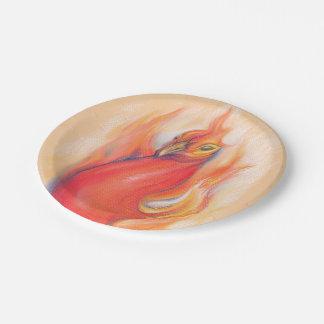 Phoenix en el arte del pastel de las llamas plato de papel 17,78 cm
