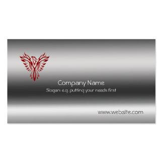 Phoenix en rojo en plantilla de la metálico-mirada tarjetas de visita