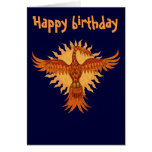 Phoenix fire bird cool happy birthday card design