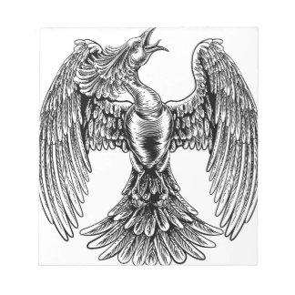 Phoenix Fire Bird in Vintage Woodcut Style Notepad